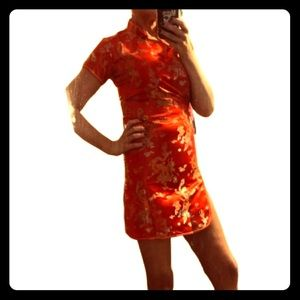 Mandarin Asian Chinese Cheongsam brocade dress 0/1